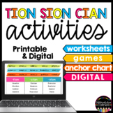 -tion, -sion & -cian Suffix Activity Pack