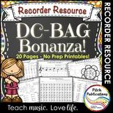 Recorder Resource: DC-BAG Bonanza - 20 Page No-Prep Recorder worksheets!
