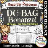Recorder Resource: DC-BAG Bonanza - 20 Page No-Prep Record