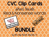 CVC Clip Cards Short Vowels Real & Nonsense Words