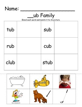 -ub Word Family Cut & Paste