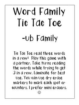 -ub Word Family Tic Tac Toe