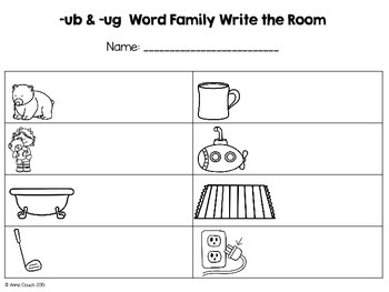 -ub & -ug Word Family Write the Room