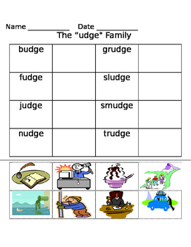 -udge word family worksheets