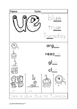 'ue' Long u Phonics Worksheet