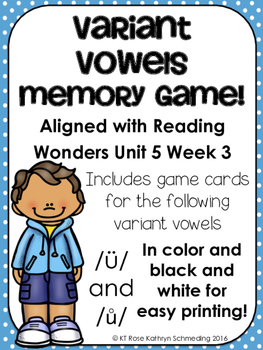 /ü/ and /ů/ Sound Memory Game---Aligned with Reading Wonders Unit 5 Week 3