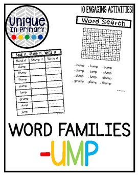 -ump Word Family Pack NO PREP