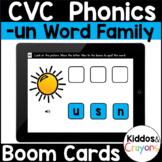 -un CVC Word Family Short U Boom Cards Phonics Digital Practice Activity