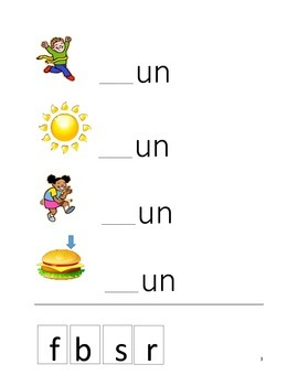 -un Word Family Activities for Special Ed/Autism