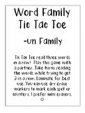 -un Word Family Tic Tac Toe