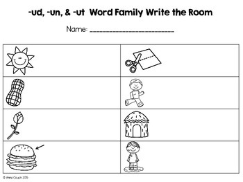 -un & -ut Word Family Write the Room