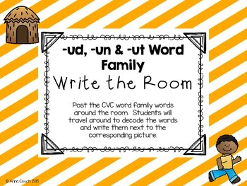 -un & -ut Word Family Write the Room