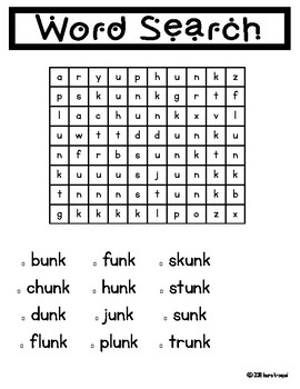 -unk Word Family Pack NO PREP