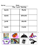 -unk word family worksheets