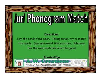 /ur/ (er, ir, ur) Match Literacy Center/Workstation Phonics Game