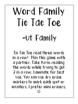 -ut Word Family Tic Tac Toe