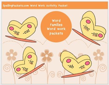 """ut"" family word work packet – 10 words, no prep spelling packet, 40+ pages"