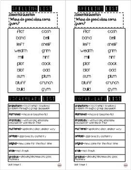 WONDERS Take Home Spelling & Vocabulary List Grade 4