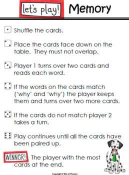 'wh' Question Word Game Cards for Snap, Memory, Reading and Sorting Activities