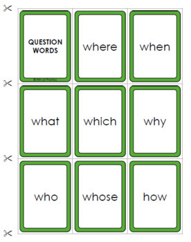 Question Words Game