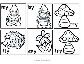 -y word sort, long e and i sound with gnomes