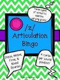 /z/ Articulation Bingo