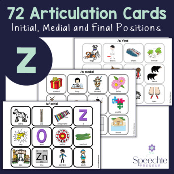 /z/ Articulation Flashcards - Initial, Medial and Final