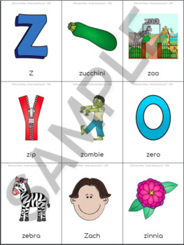 /z/ Sound Articulation Picture Cards - Z Sound In All Positions