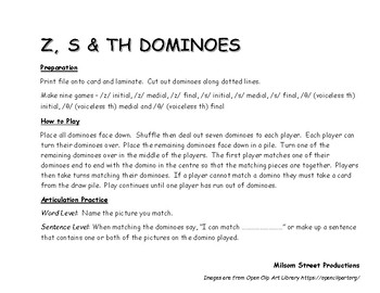 /z/, /s/ and voiceless /th/ Dominoes