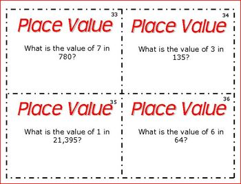 52 Place Value Task Cards Math Station or Center