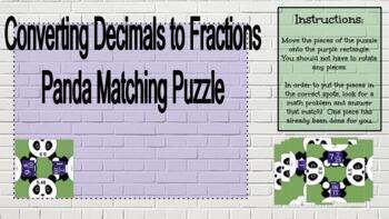 Converting Decimals to Fractions: Matching Panda Puzzle