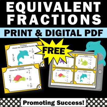 FREE Equivalent Fractions Task Cards, 4th Grade Math Morning Work Digital Print
