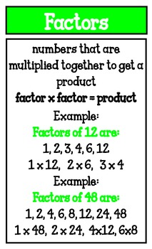 Factor and Greatest Common Factor Posters