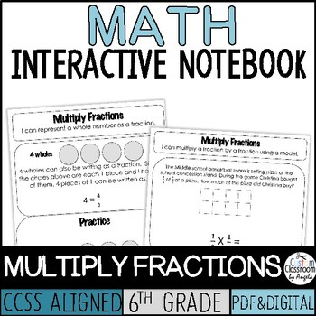 Interactive Notebook Multiply Fractions | Print & Digital