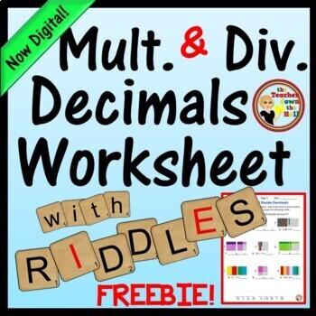 Decimals Multiply and Divide Decimals No-Prep Printable w/ Riddle!