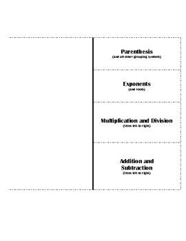 Order of Operations Flipbook - PEMDAS