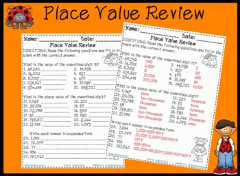 Place Value Review Activity Worksheet