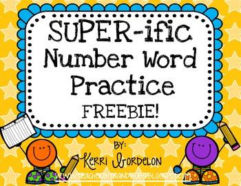 SUPER-ific Number Word Practice Pack FREEBIE!