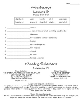 Journeys - HMH © 2014 Grade 4 Lesson 13 Study Sheet