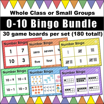 0-10 Bingo Bundle! Numerals, Number Words, Tens Frames, Tally Marks, and more!