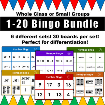 1-20 Bingo Bundle! Numerals, Number Words, Tens Frames, Tally Marks, and more!