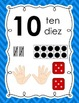 0-10 Chevron Number Posters in English and Spanish {w/ frame, tally, hand, dice}