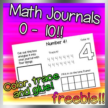 0-10 Math Journals Freebie