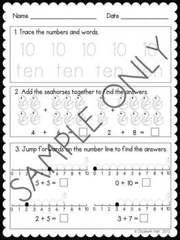 0 - 10 Math Worksheets for Kinder (seahorse themed)