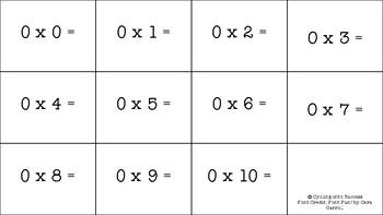 0-10 Multiplication Fact Flashcards