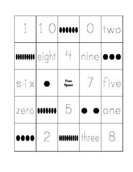 0-10 Number Bingo (Word, Digit, Picture)