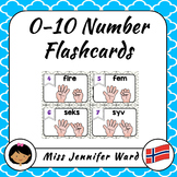 0-10 Number Flash Cards in Norwegian