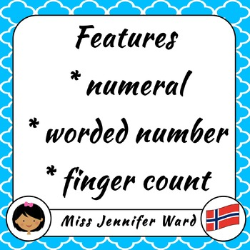 0-10 Number Flash Cards in Norwegian