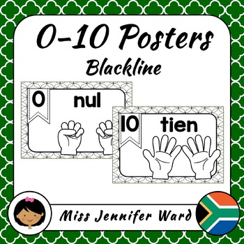 0-10 Number Posters in Afrikaans (Blackline)