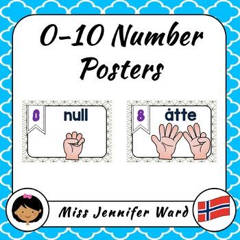 0-10 Number Posters in Norwegian